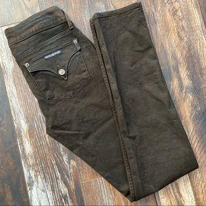 Waxed cotton look Hudson skinny leg jeans